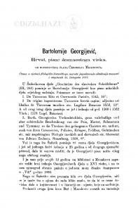 Bartolomije Georgijević : Hrvat, pisac šesnaestoga vieka / Č. Mijatović