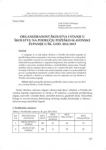 Organiziranost školstva i stanje u školstvu na području Požeško-slavonske županije u šk. god. 2012./2013 / Vesna Vlašić