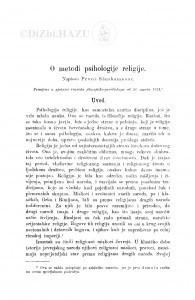O metodi psihologije religije / P. Slankamenac