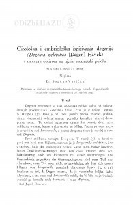 Citološka i embriološka ispitivanja degenije (Degenia velebitica (Degen) Hayek) / Bogdan Varićak