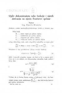 Upliv diskontinuiteta neke funkcije i njenih derivacija na njezin Fourierov spektar / Danilo Blanuša