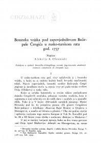 Bosanska vojska pod zapovjedništvom Bećir-paše Čengića u rusko-turskom ratu god. 1737. / A. A. Olesnicki