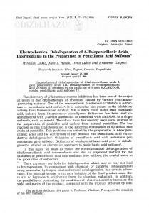 Electrochemical dehalogenation of 6-halopenicillanic acids intermediates in the preparation of penicillanic acid sulfones / M. Lukić, J. Herak, I. Lukić, B. Gašpert