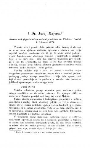 Dr. Juraj Majcen : [govor nad odrom] / V. Varićak