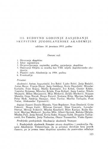 III. redovno godišnje zasjedanje skupštine Jugoslavenske akademije održano 18. prosinca 1953. godine