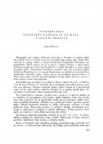 Istraživanja Claviceps Paspali St. et Hall. u dolini Neretve / J. Kišpatić