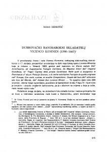 Dubrovački ranobarokni skladatelj Vicenco Komnen (1590-1667) / M. Demović