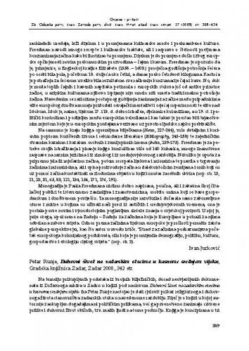 Petar Runje, Duhovni život na zadarskim otocima u kasnome srednjem vijeku, Gradska knjižnica Zadar, Zadar 2008. : [prikaz] / Zrinka Novak