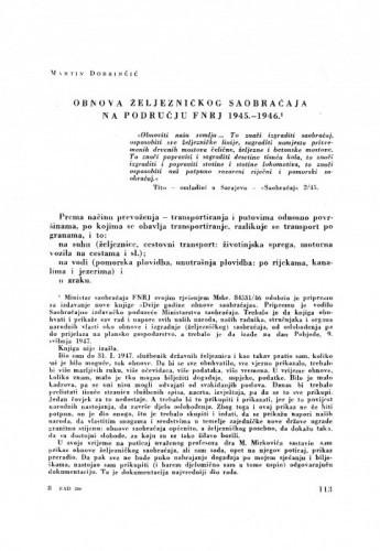Obnova željezničkog saobraćaja na području FNRJ 1945.-1946. / M. Dobrinčić
