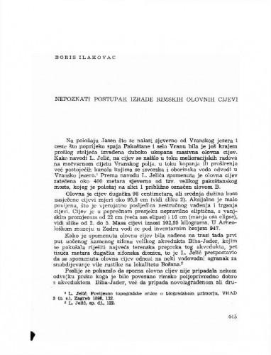Nepoznati postupak izrade rimskih olovnih cijevi / Boris Ilakovac