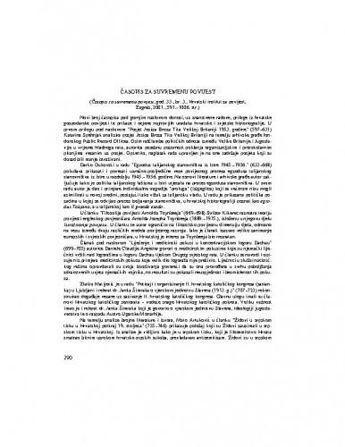 Časopis za suvremenu povijest (god. 33., br. 3., Zagreb : Hrvatski institut za povijest, 2001.) / Mirjana Sladonja