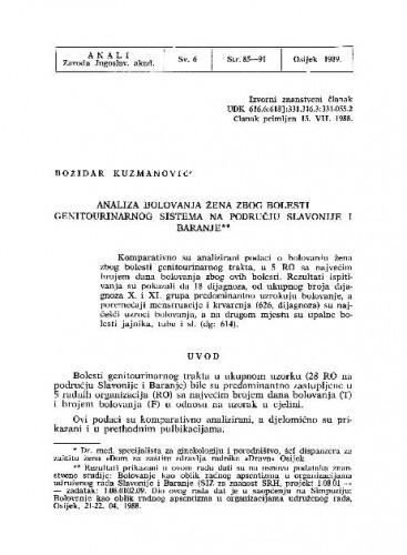 Analiza bolovanja žena zbog bolesti genitourinarnog sistema na području Slavonije i Baranje / Božidar Kuzmanović