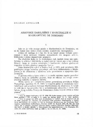 Arhivske zabilješke i marginalije o Markantunu de Dominisu / Stjepan Antoljak