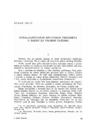 Potalijančivanje hrvatskih prezimena u Zadru za vrijeme fašizma / Roman Jelić