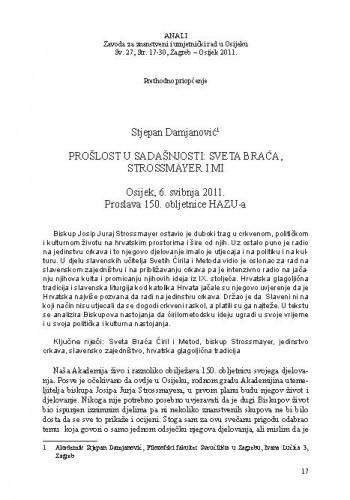 Prošlost u sadašnjosti: Sveta braća, Strossmayer i mi / Stjepan Damjanović