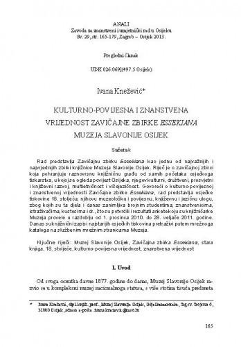 Kulturno-povijesna i znanstvena vrijednost Zavičajne zbirke Essekiana Muzeja Slavonije Osijek / Ivana Knežević