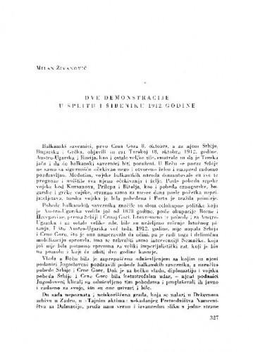 Dve demonstracije u Splitu i Šibeniku 1912. godine / Milan Živanović
