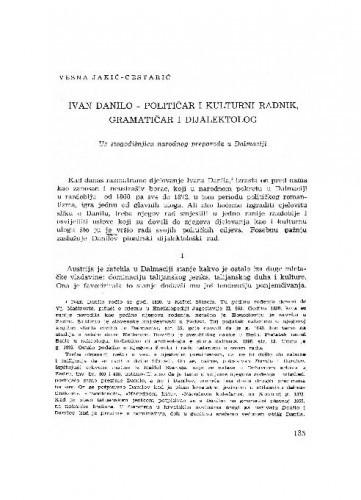 Ivan Danilo - političar i kulturni radnik, gramatičar i dijalektolog : uz stogodišnjicu  narodnog preporoda u Dalmaciji / Vesna Jakić-Cestarić
