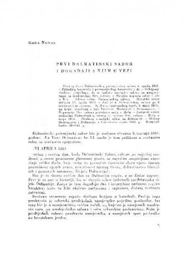 Prvi dalmatinski sabor i događaji s njim u vezi / Grga Novak
