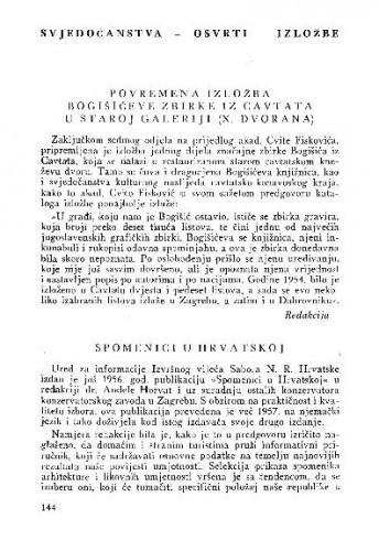 Povremena izložba Bogišićeve zbirke iz Cavtata u Staroj galeriji (X. dvorana) / Redakcija