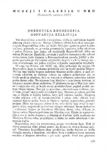 Dobrotska bogorodica Giovanija Bellinija / Kruno Prijatelj