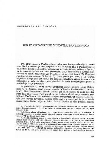 Još iz ostavštine Mihovila Pavlinovića / Benedikta Zelić-Bučan