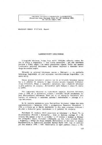 Lanosovićev lekcionar / M. J. Fućak