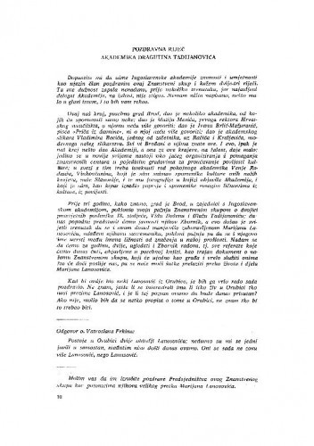 Pozdravna riječ akademika Dragutina Tadijanovića