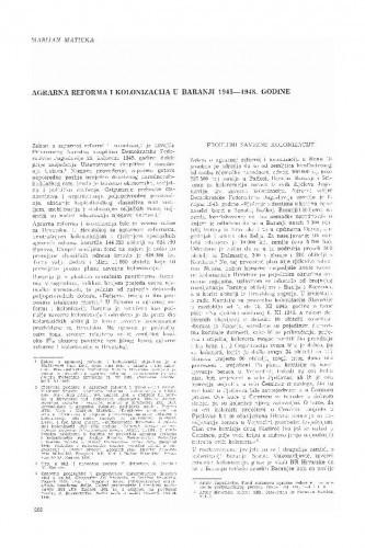 Agrarna reforma i kolonizacija u Baranji : 1945-1948. godine / Marijan Maticka