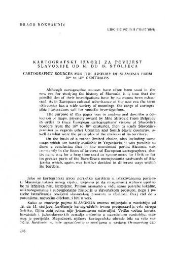 Kartografski izvori za povijest Slavonije od 16. do 18. stoljeća / Drago Roksandić