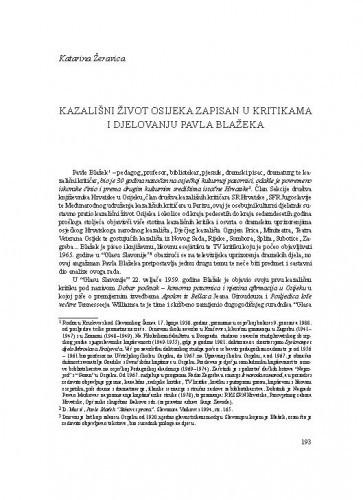 Kazališni život Osijeka zapisan u kritikama i djelovanju Pavla Blažeka / Katarina Žeravica
