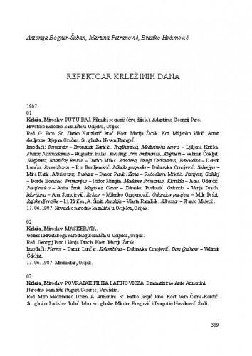 Repertoar Krležinih dana / Antonija Bogner-Šaban, Martina Petranović, Branko Hećimović