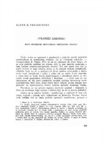 Vranski zakonik : novi spomenik hrvatskog običajnog prava / Maren M. Freidenberg