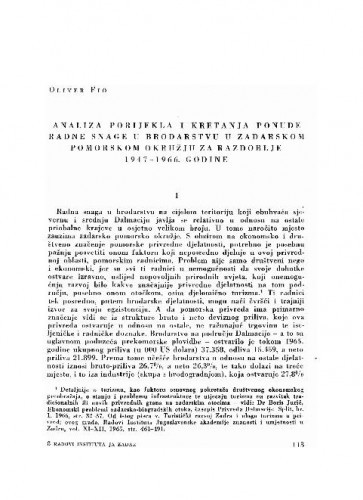 Analiza porijekla i kretanja ponude radne snage u brodarstvu u zadarskom pomorskom okružju za razdoblje 1947-1966. godine / Oliver Fio