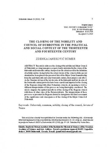 The closing of the nobility and Council of Dubrovnik in the political and social context of the thirteenth and fourteenth century / Zdenka Janeković Römer