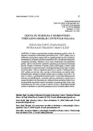 Crkva Sv. Stjepana u Dubrovniku - višefazno groblje i inventar nalaza / Nikolina Topić, Ivana Radić, Petra Rajić Šikanjić, Mato Ilkić