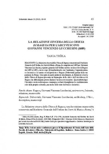La Relazione sincera della Chiesa di Ragusa per l'arcivescovo Giovanni Vincenzo Lucchesini (1689). / Tanja Trška