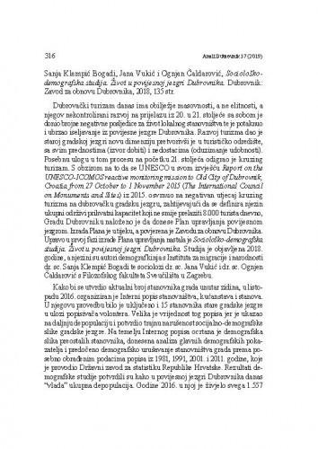 Sanja Klempić Bogadi, Jana Vukić i Ognjen Čaldarović, Sociološko- demografska studija. Život u povijesnoj jezgri Dubrovnika. Dubrovnik: Zavod za obnovu Dubrovnika, 2018. : [prikaz] / Ana Prohaska Vlahinić