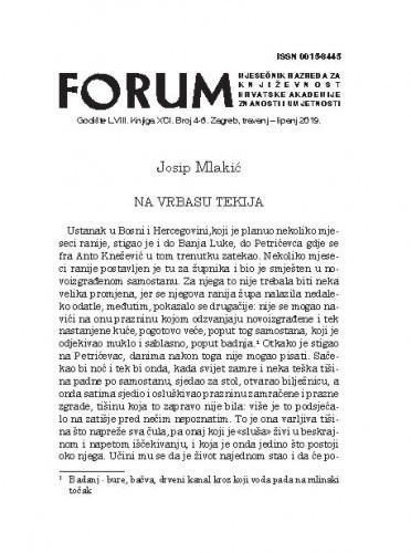 Na Vrbasu tekija / Josip Mlakić
