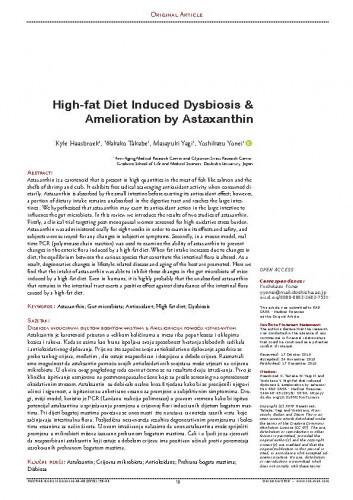 High-fat Diet Induced Dysbiosis & Amelioration by Astaxanthin / Kyle Haasbroek, Wakako Takabe, Masayuki Yagi, Yoshikazu Yonei