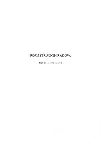 Popis stručnih radova / Sonja Jurković