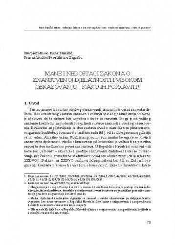 Mane i nedostaci Zakona o znanstvenoj djelatnosti i visokom obrazovanju - kako ih popraviti? : [uvodno izlaganje] / Frane Staničić