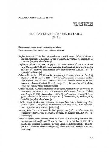 Tekuća onomastička bibliografija (2018.) / Joža Horvat