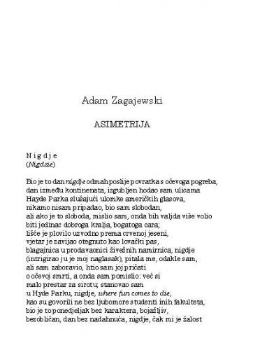 Asimetrija / Adam Zagajewski ; preveo i priredio Pero Mioč
