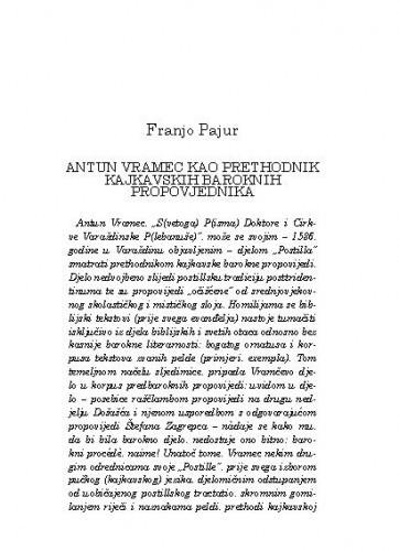 Antun Vramec kao prethodnik kajkavskih baroknih propovjednika / Franjo Pajur