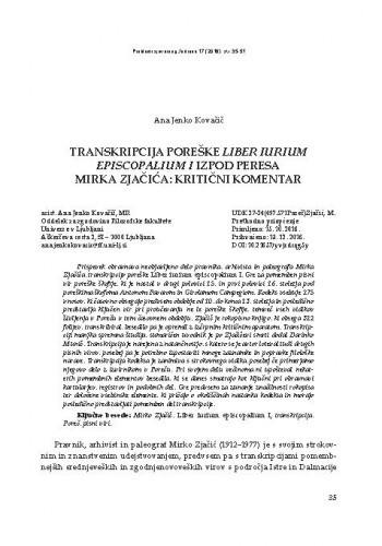 Transkripcija poreške Liber iurium episcopalium I izpod peresa Mirka Zjačića: kritični komentar / Ana Jenko Kovačić