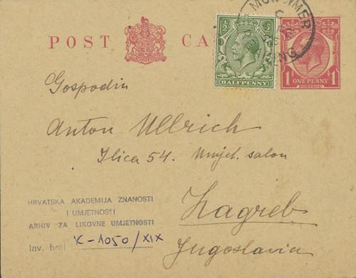 Dopisnica Naste Rojc Antunu Ullrichu, Stratfield Saye, 1925.