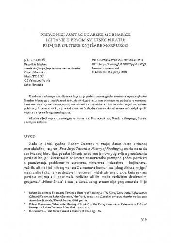 Pripadnici austrougarske mornarice i čitanje u Prvom svjetskom ratu: primjer splitske Knjižare Morpurgo / Jelena Lakuš, Nada Topić