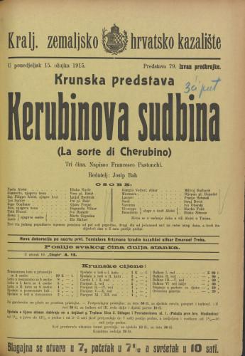 Kerubinova sudbina Tri čina  =  La sorte di Cherubino