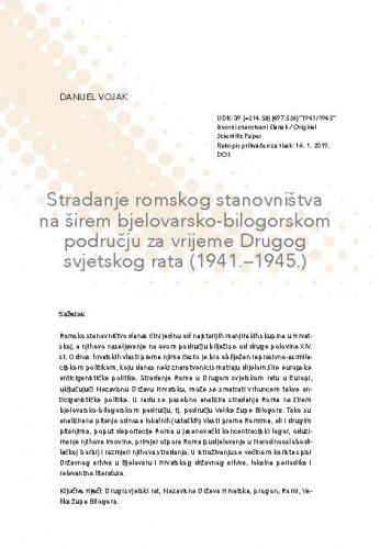 Stradanje romskog stanovništva na širem bjelovarsko-bilogorskom području za vrijeme Drugog svjetskog rata (1941. – 1945.) / Danijel Vojak